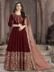 Maroon Silk Embroidered Party Lawn Kameez
