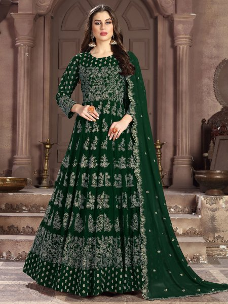 Dark Green Faux Georgette Embroidered Lawn Kameez