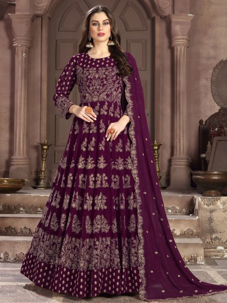 Wine Red Faux Georgette Embroidered Lawn Kameez