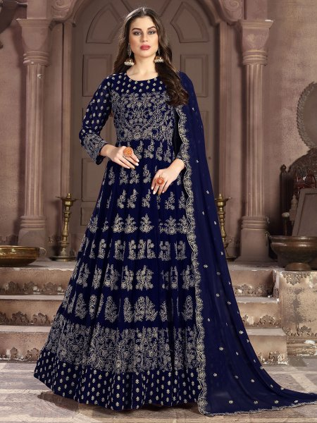 Navy Blue Faux Georgette Embroidered Lawn Kameez