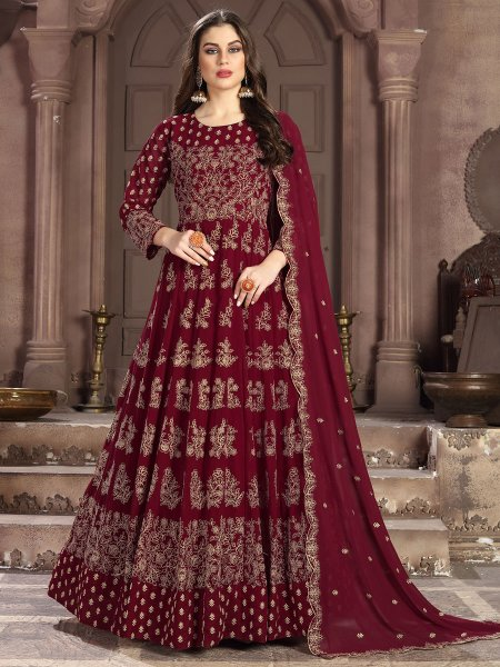 Maroon Faux Georgette Embroidered Lawn Kameez