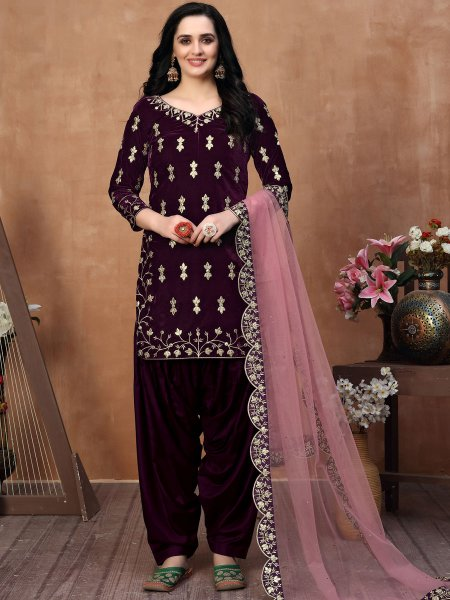Byzantium Purple Velvet Embroidered Party Patiala Pant Kameez