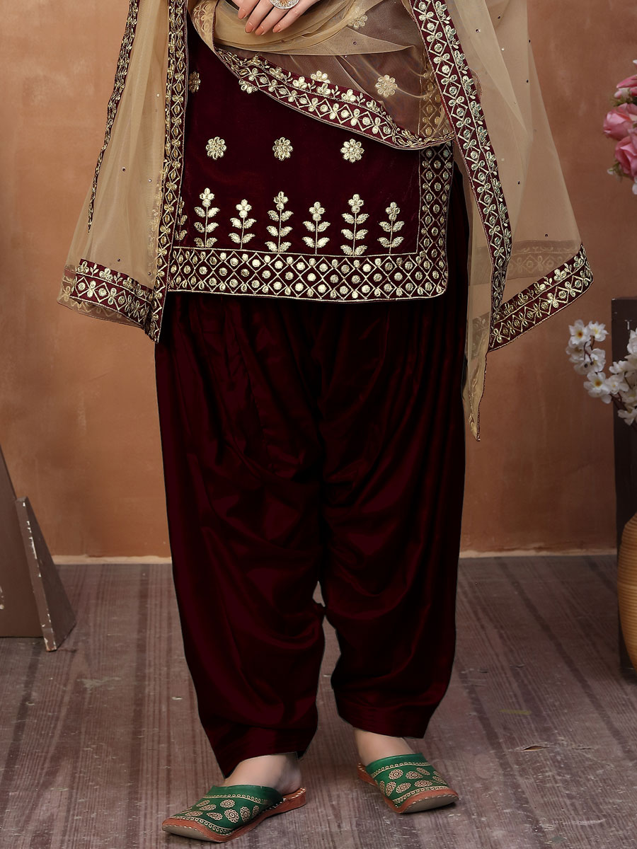 Auburn Brown Velvet Embroidered Party Patiala Pant Kameez
