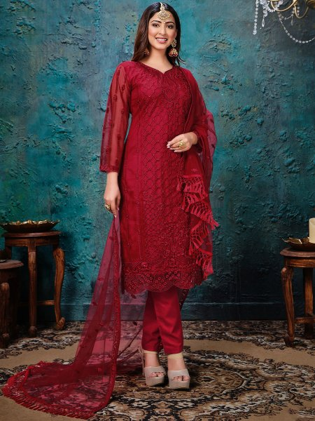 Venetian Red Net Embroidered Festival Pant Kameez