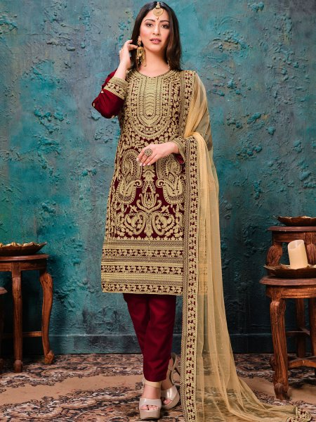 Maroon Faux Georgette Embroidered Wedding Pant Kameez