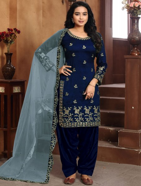 Navy Blue Art Silk Embroidered Party Patiala Pant Kameez