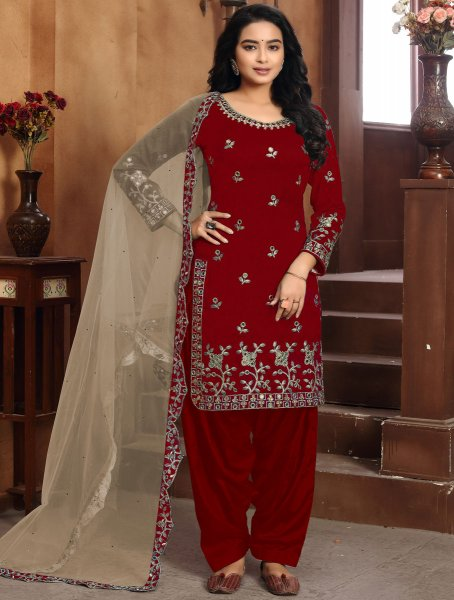 Maroon Art Silk Embroidered Party Patiala Pant Kameez