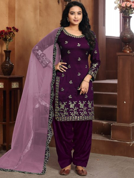 Byzantium Purple Art Silk Embroidered Party Patiala Pant Kameez