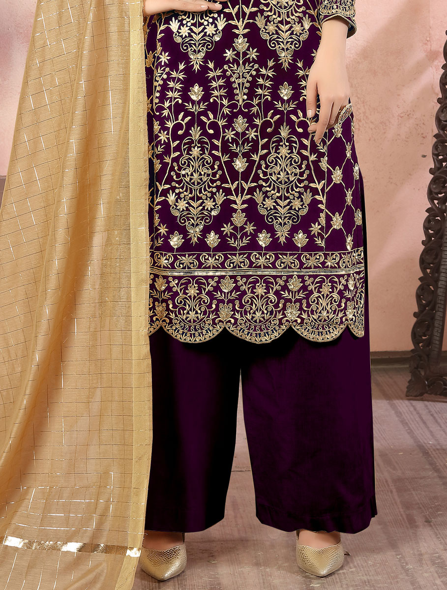 Byzantium Purple Faux Georgette Embroidered Festival Palazzo Pant Kameez