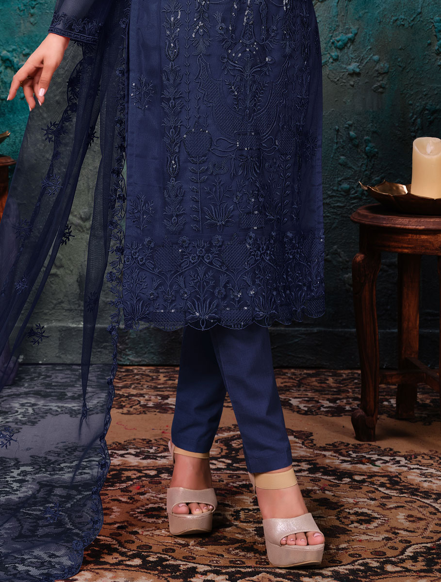 Navy Blue Net Embroidered Party Pant Kameez