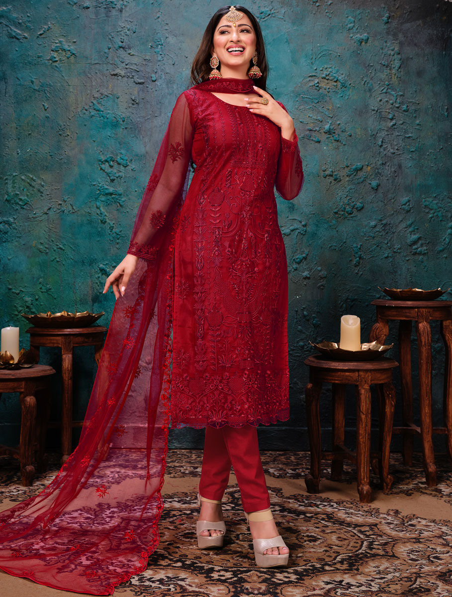 Venetian Red Net Embroidered Party Pant Kameez