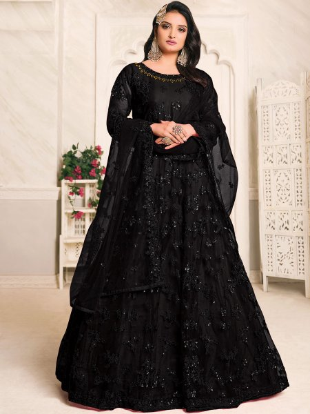 Black Net Embroidered Festival Lawn Kameez
