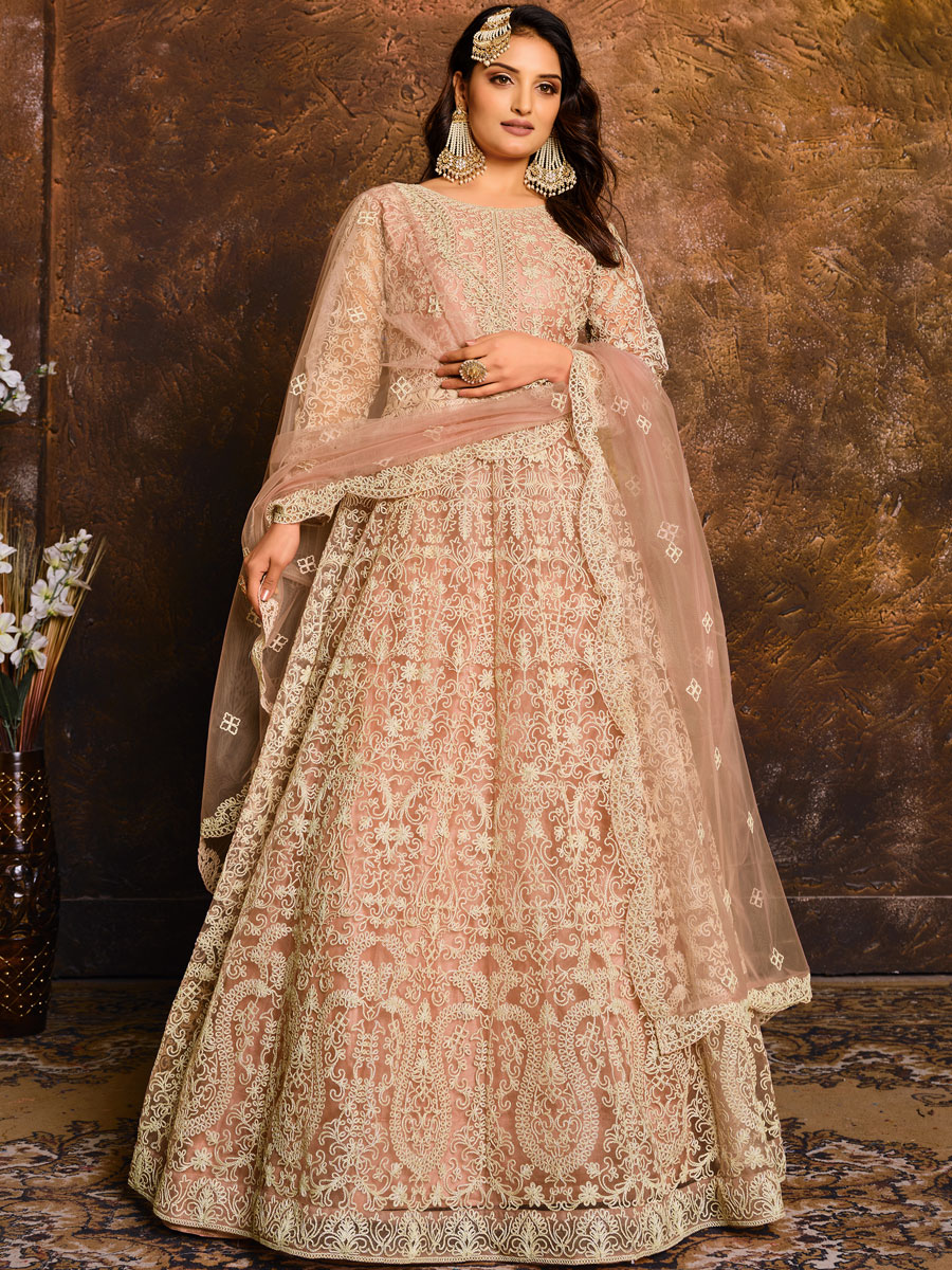 Coral Pink Net Embroidered Festival Lawn Kameez