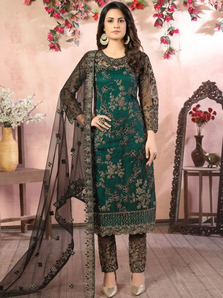 Hunter Green Net Embroidered Party Pant Kameez