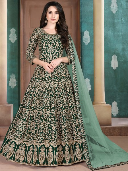 Hunter Green Faux Georgette Embroideed Festival Lawn Kameez