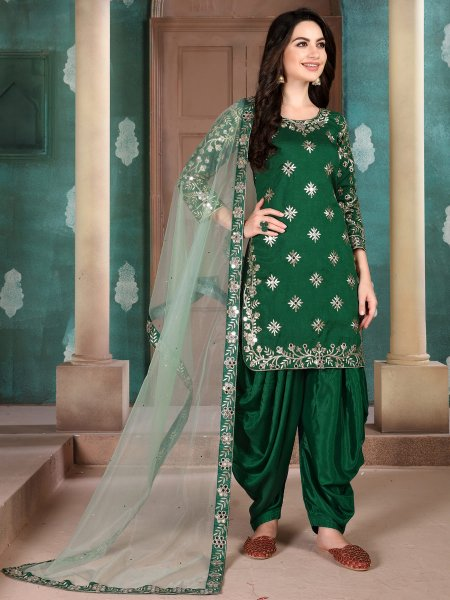 Hunter Green Art Silk Embroidered Festival Patiala Kameez