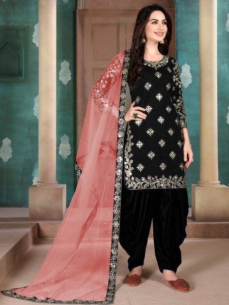 Black Art Silk Embroidered Festival Patiala Kameez