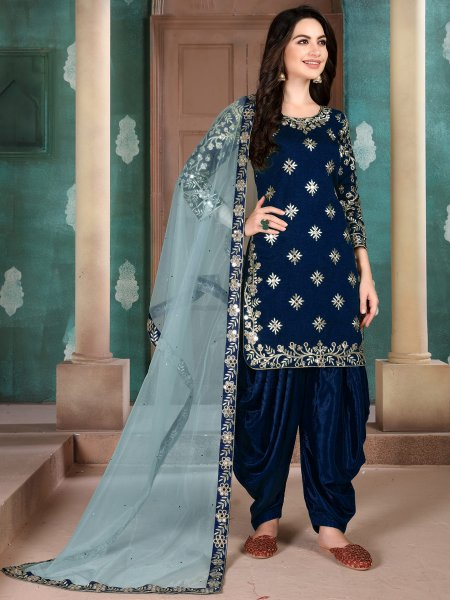 Navy Blue Art Silk Embroidered Festival Patiala Kameez