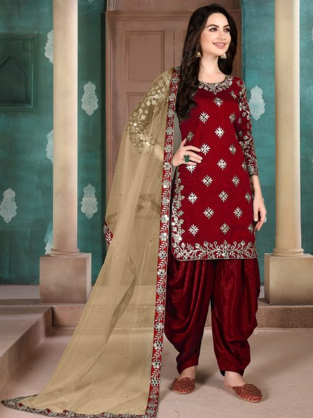 Maroon Art Silk Embroidered Festival Patiala Kameez
