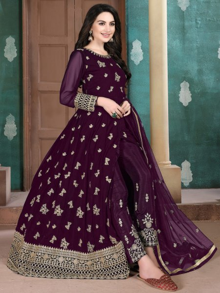 Byzantium Purple Faux Georgette Embroidered Festival Lawn Kameez