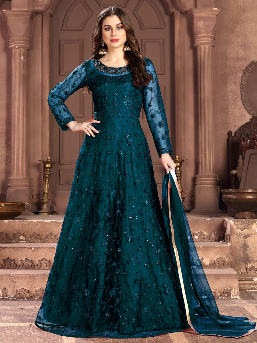 Yale Blue Net Embroidered Festival Lawn Kameez