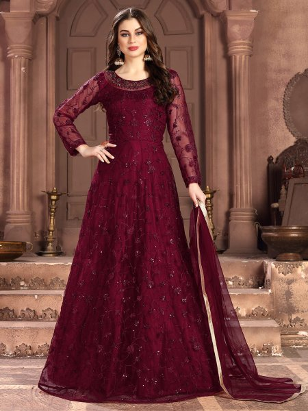 Maroon Net Embroidered Festival Lawn Kameez