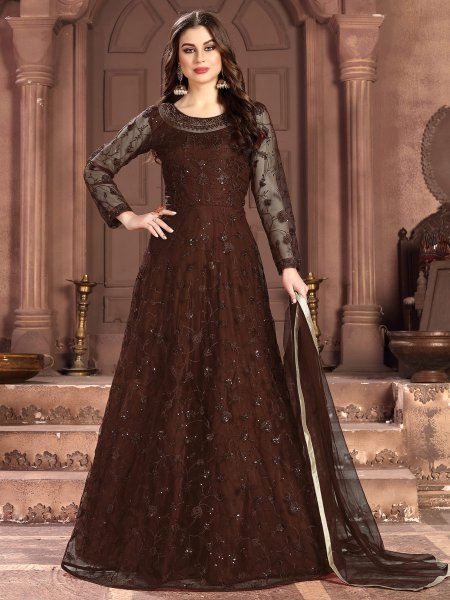 Raw Umber Brown Net Embroidered Festival Lawn Kameez