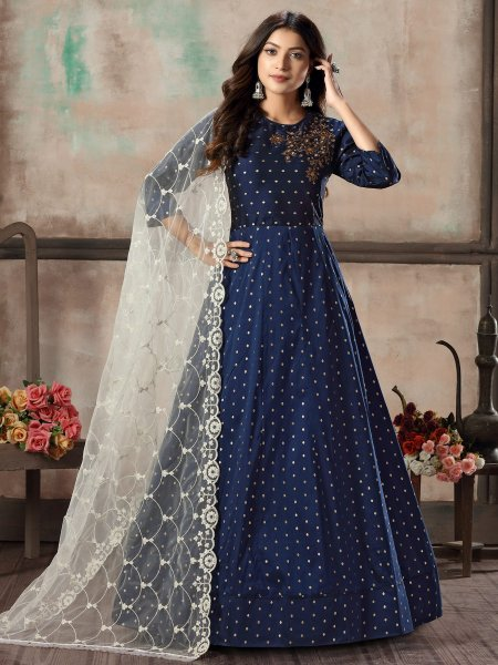 Navy Blue Taffeta Silk Embroidered Festival Lawn Kameez