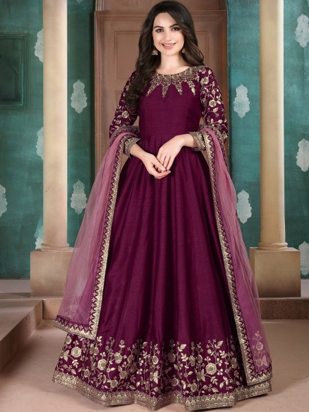 Byzantium Purple Silk Embroidered Festival Lawn Kameez