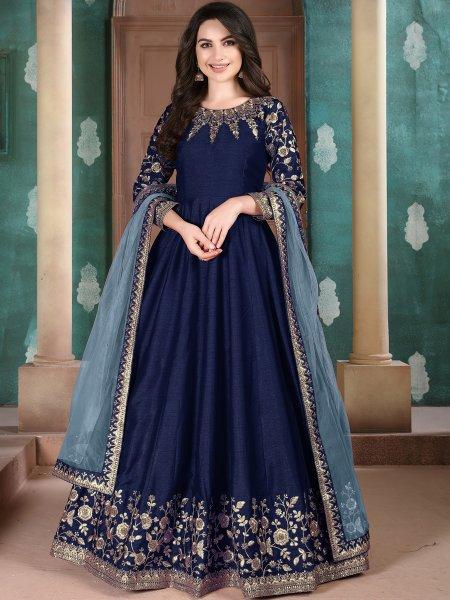 Navy Blue Silk Embroidered Festival Lawn Kameez
