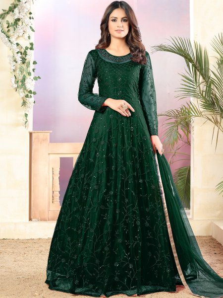 Hunter Green Net Embroidered Party Lawn Kameez