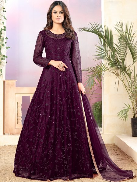 Byzantium Purple Net Embroidered Party Lawn Kameez