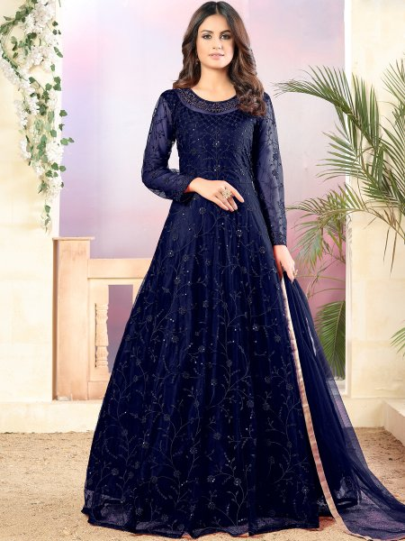 Navy Blue Net Embroidered Party Lawn Kameez