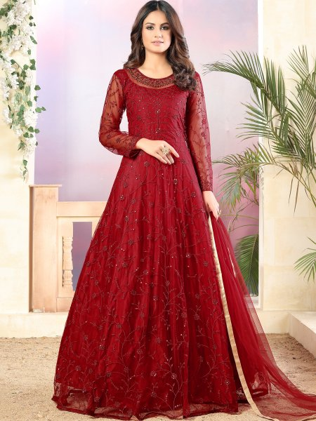 Maroon Net Embroidered Party Lawn Kameez