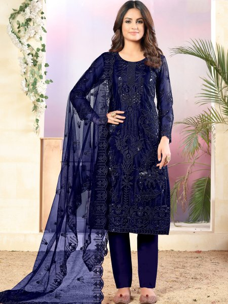 Navy Blue Net Embroidered Festival Pant Kameez