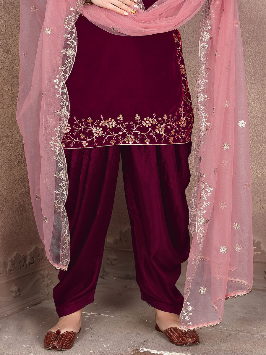 Maroon Velvet Embroidered Party Patiala Pant Kameez