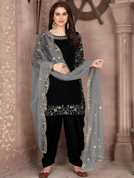 Black Velvet Embroidered Party Patiala Pant Kameez