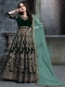 British Racing Green Velvet Emboidered Party Lawn Kameez