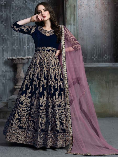 Navy Blue Velvet Emboidered Party Lawn Kameez