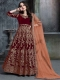 Maroon Velvet Emboidered Party Lawn Kameez