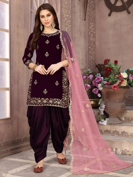 Wine Red Velvet Embroidered Party Patiala Pant Kameez