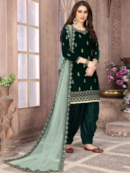 Dark Green Velvet Embroidered Party Patiala Pant Kameez