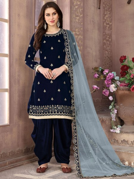 Navy Blue Velvet Embroidered Party Patiala Pant Kameez
