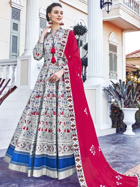 Light Gray and Blue Silk Printed Festival Lawn Kameez