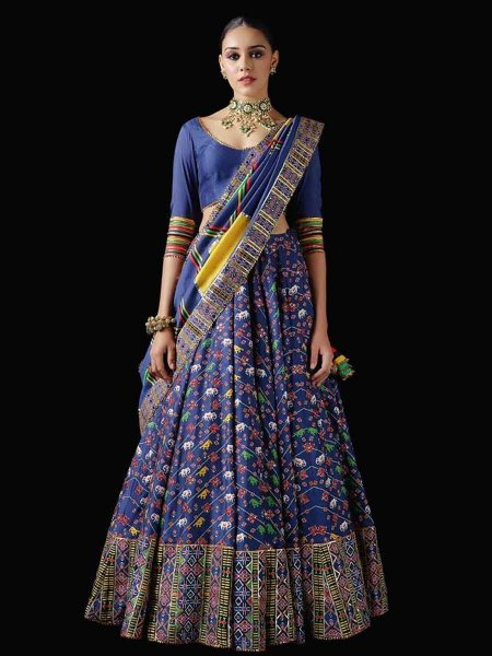 Dark Blue Printed Festival Lehenga Choli