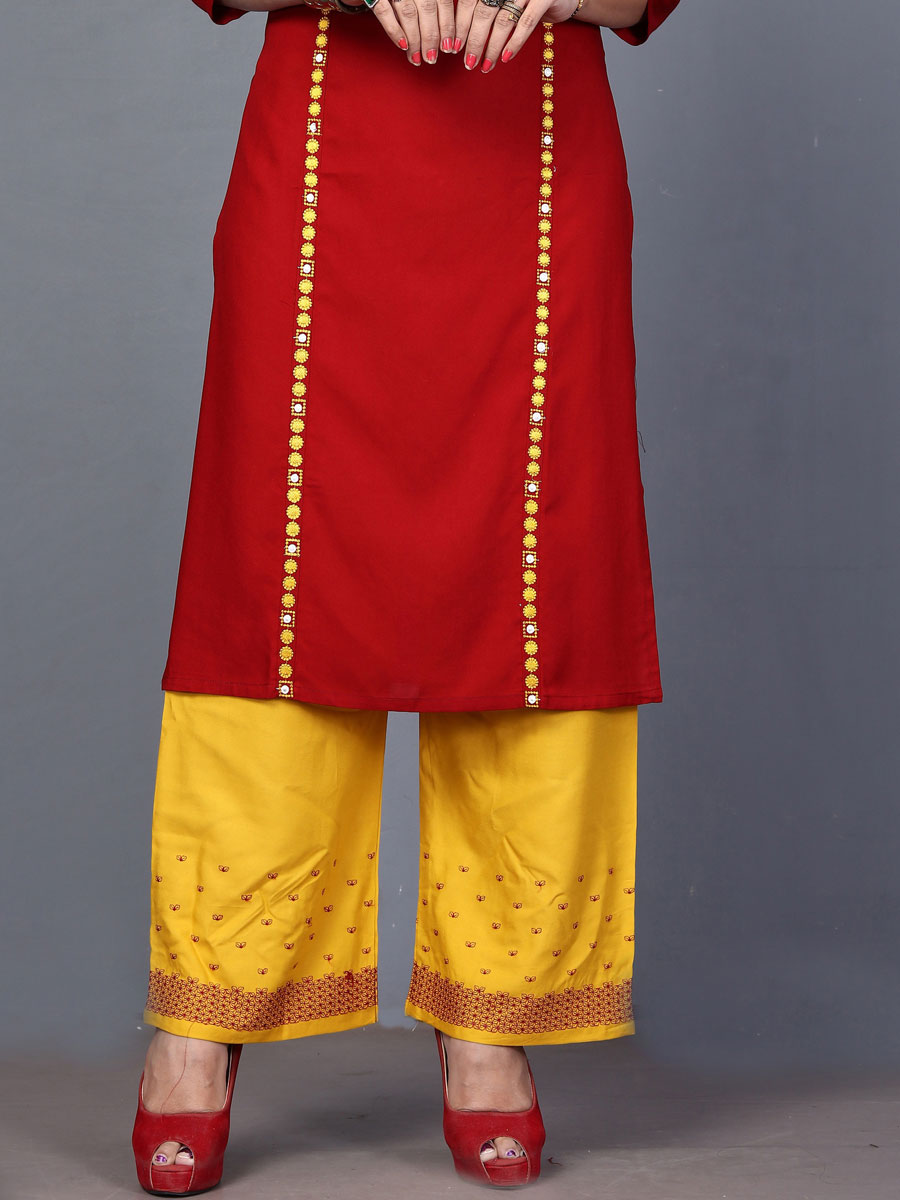 Venetian Red Rayon Embroidered Festival Kurti