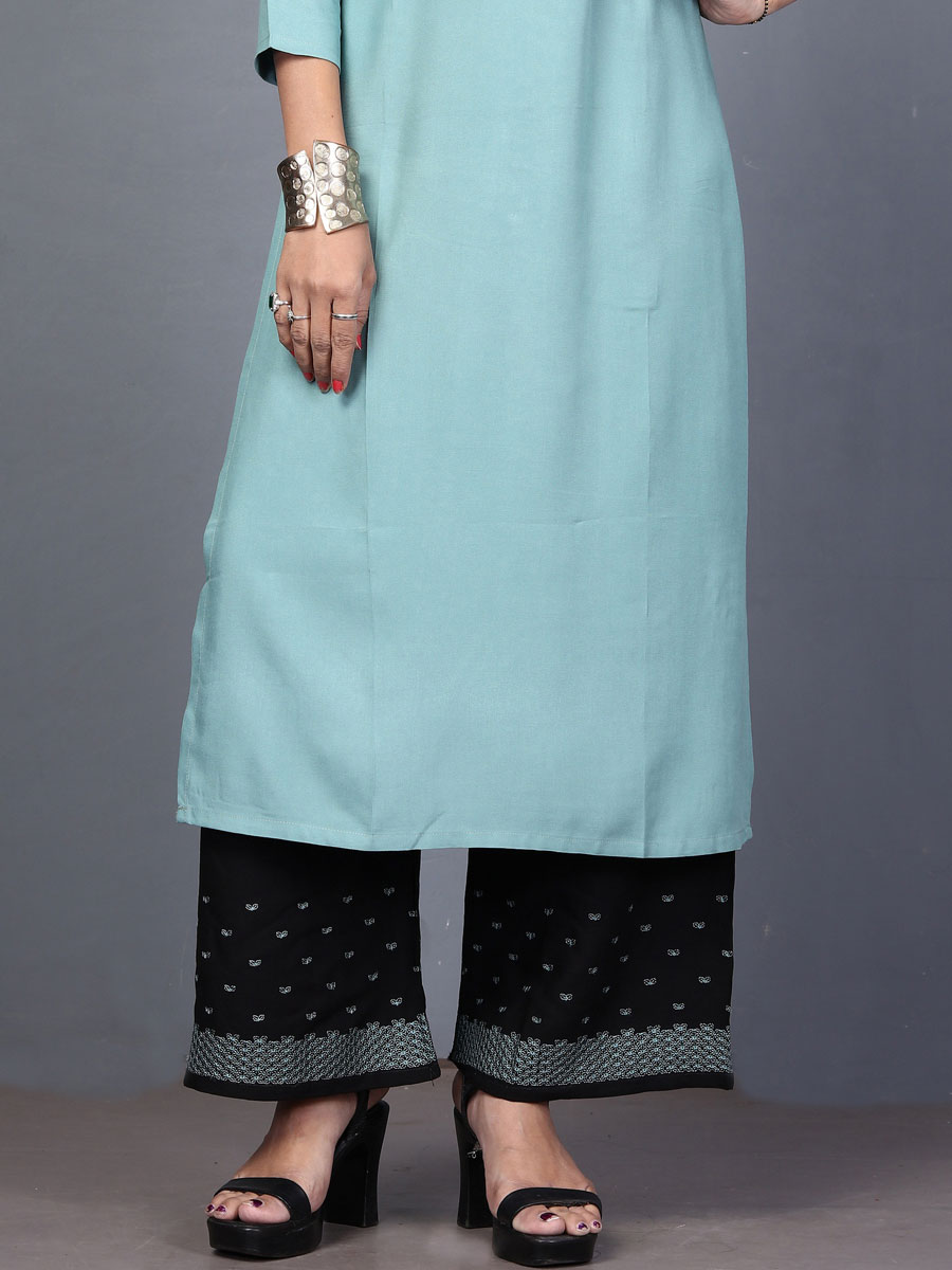 Sky Blue Rayon Embroidered Festival Kurti