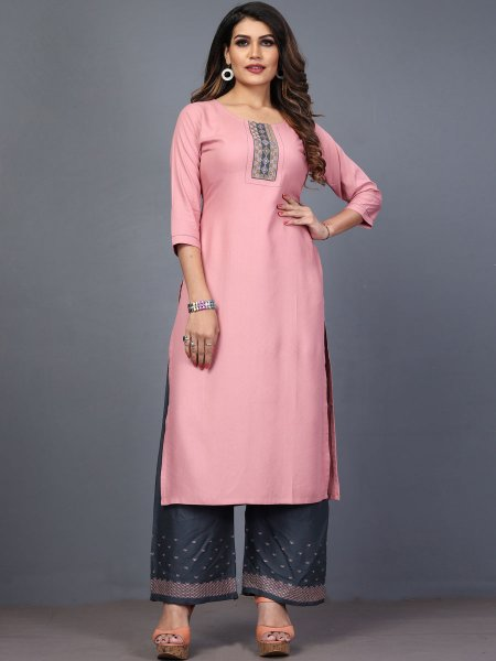 Light Pink Rayon Embroidered Festival Kurti