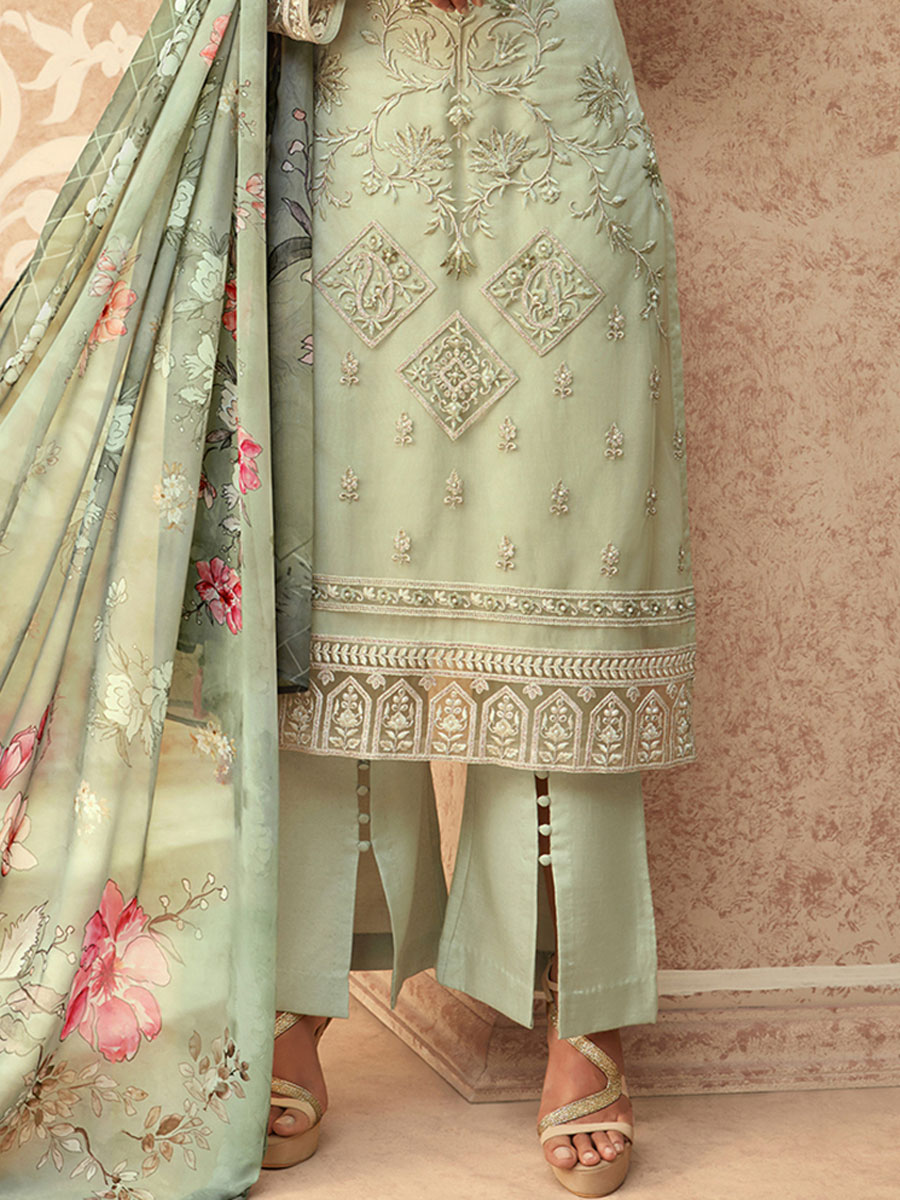 Celadon Green Net Embroidered Party Pant Kameez