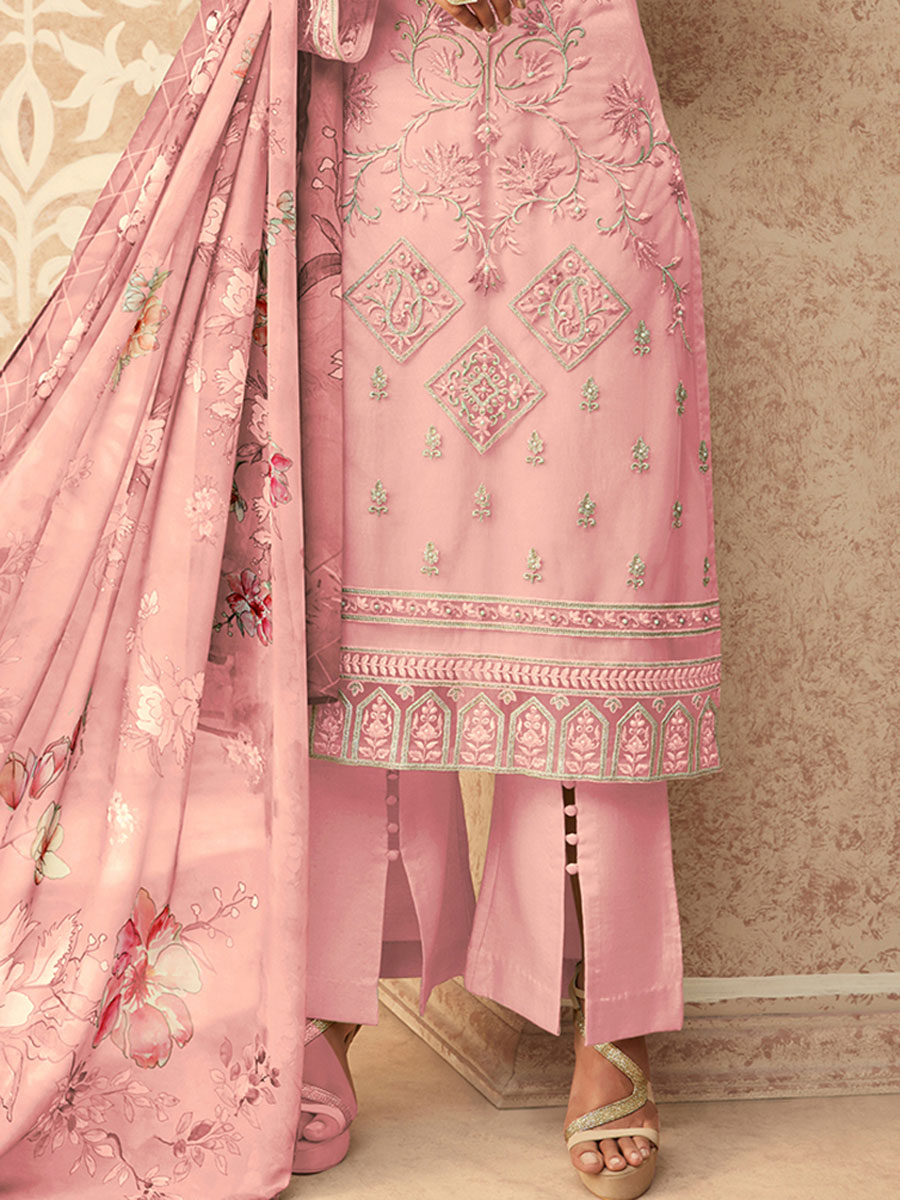 Light Pink Net Embroidered Party Pant Kameez